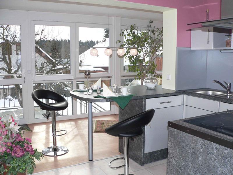 Blick aus der Küche in den Wintergarten